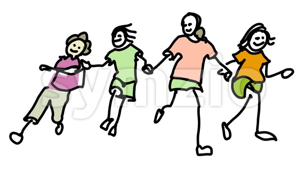 Colored Doodle Kids running together Stock Vector
