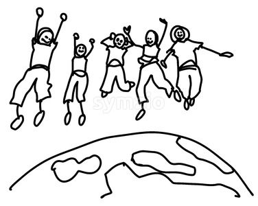Sketched Doodle Kids Jumping over Earth Stock Vector