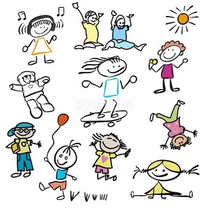 Various Colored happy Kids Doodles Stock Vector