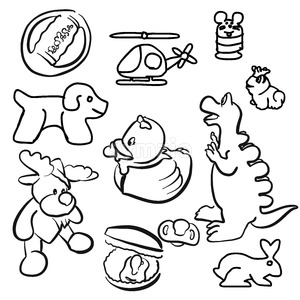 Baby Toys Outline Sketched Doodles Stock Vector