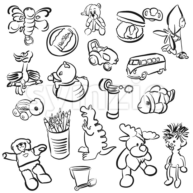 Set of Outlined Baby Doodles Stock Vector