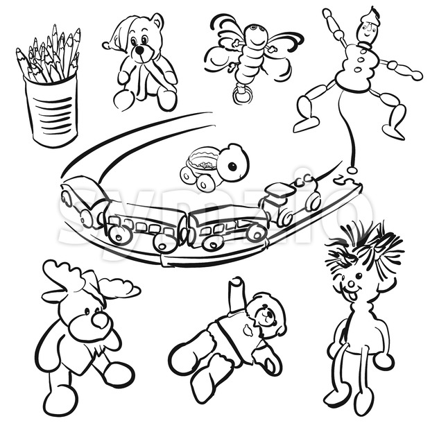Doodles of Toddlers playing Toys Stock Vector
