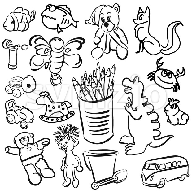 Big Set of Sketched Kids Toys Stock Vector
