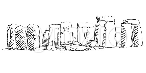Stonehenge, England Historical Monument Sketch Stock Vector
