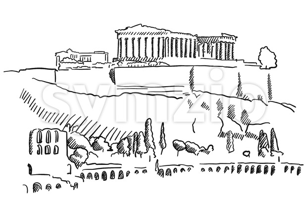 Athens Acropolis Greece Vintage Sketch Stock Vector