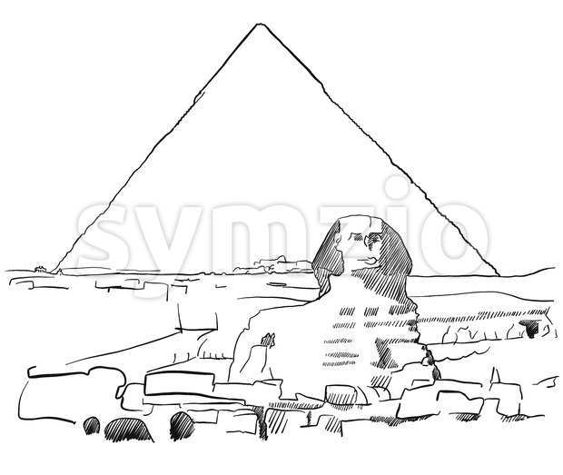 Giza Sphinx with Pyramids sketched Stock Vector