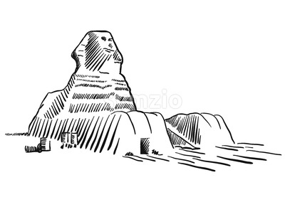 Egypt Sphinx Monument Cairo Sketched Stock Vector