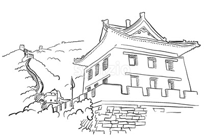 Great Wall with Tower Sketch Stock Vector
