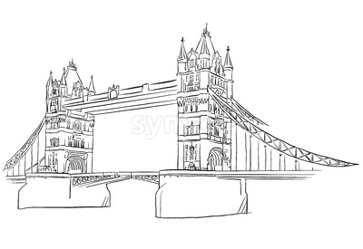 London Tower Bridge Outline Sketched Stock Vector