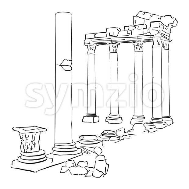 Side Temple Apollo Turkey Sketched Stock Vector