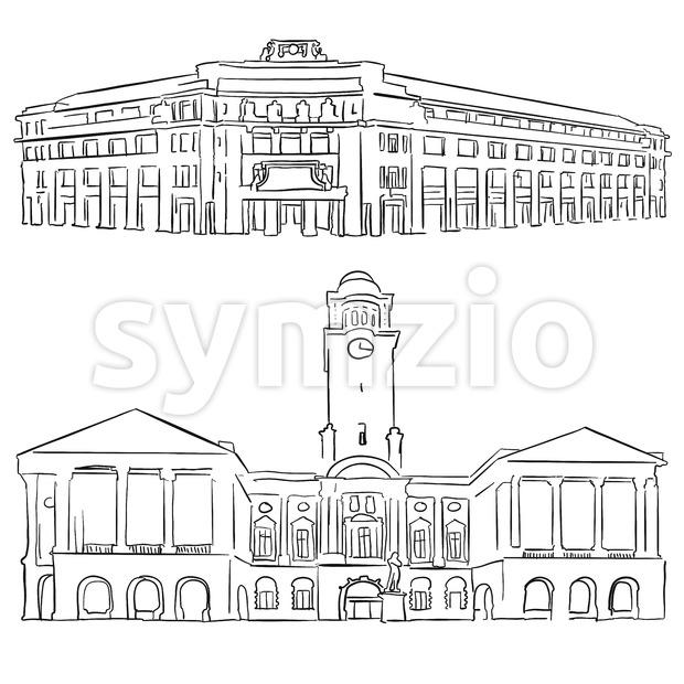 Singapore Victoria Concert Hall Historical Theatre Stock Vector
