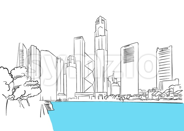 Singapore Downtown, Finance District Plaza Stock Vector