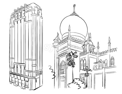 Singapore Famous Mosque and Architecture Landmarks Stock Vector