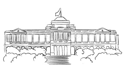 Singapore Istana Presidents residence Sketch Stock Vector