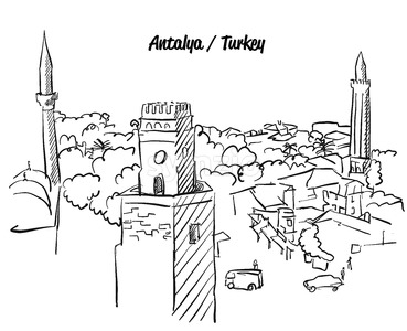 Antalya Turkey Old Town Colouring Page Stock Vector