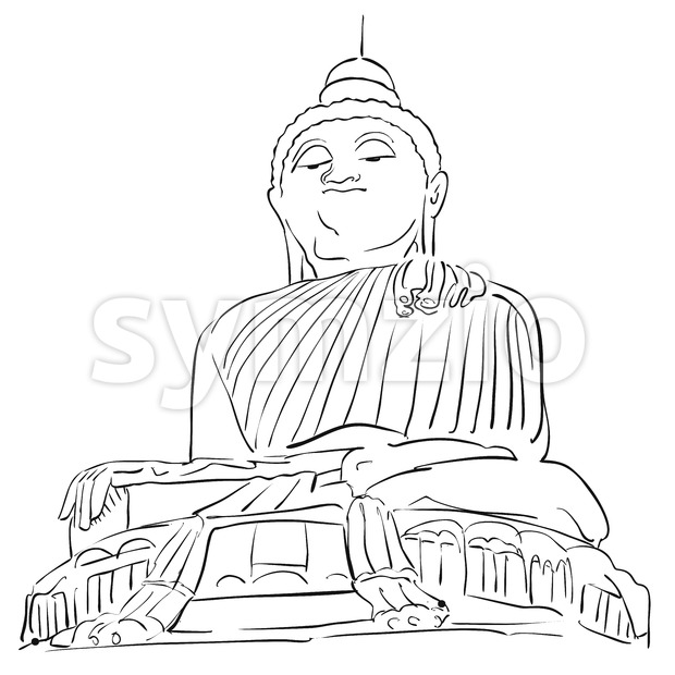 Big Buddha Phuket Outline Sketch Stock Vector