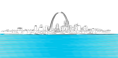 St Louis, Missouri, Hand-drawn Outline Sketch Stock Vector