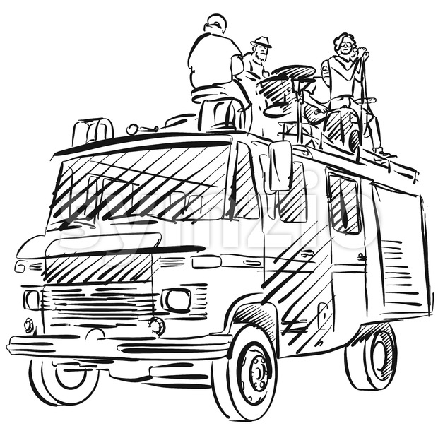 Rock'n'roll Band plays on truck, Hand-drawn Image, Vector Outline Artwork