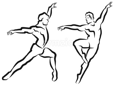 Two Dancer Outline Silhouette Sketch Stock Vector