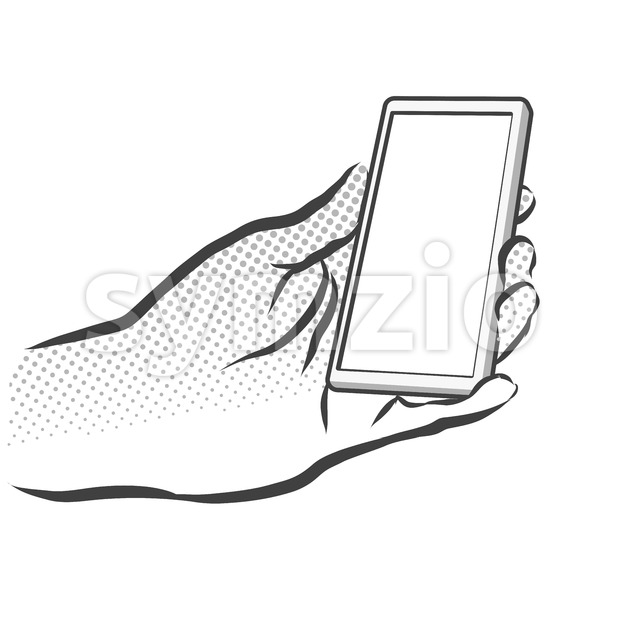 Sketched Hand Holding Mobile Phone, Handmade Artwork