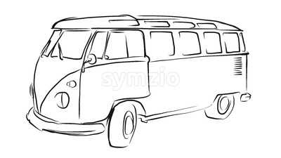 Old Transporter Sketch, Vector Drawing Stock Vector
