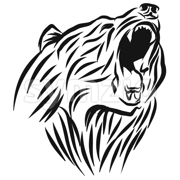 A roaring Bear head logo. This is vector illustration ideal for a mascot and tattoo or T-shirt graphic.