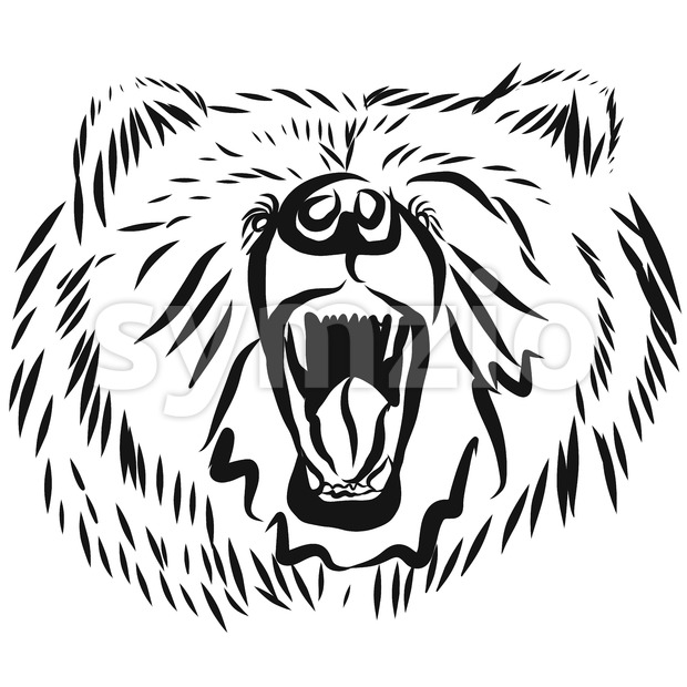 grizzly bear head, rearing angry pose Stock Vector