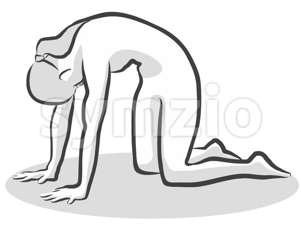 Black Cat Marjaryasana Yoga Pose Stock Vector