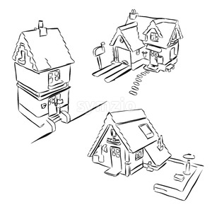 Three Houses Sketch Miniature Doodles Stock Vector