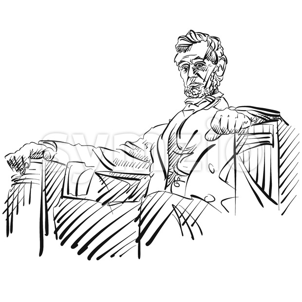 Abraham Lincoln Sketch Side View Stock Vector