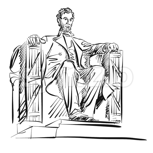 Abraham Lincoln Freehand Sketch Stock Vector