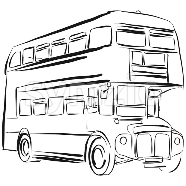London Bus Vector Drawing Stock Vector