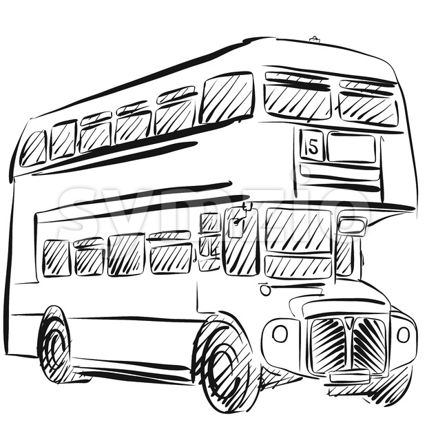 London Bus Freehand Sketch Stock Vector