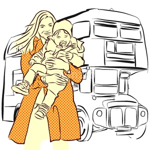 Mother and Child in Front of London Bus Stock Vector