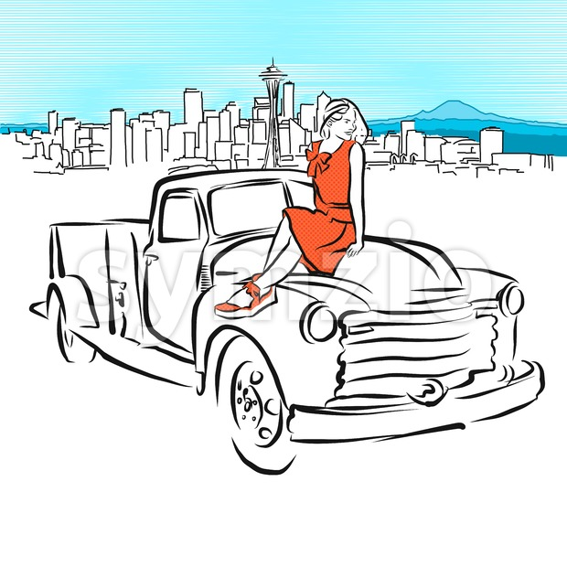 Pickup and Girl in Front of Seattle Panorama Stock Vector