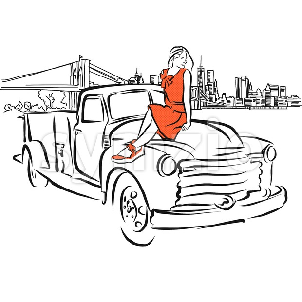 Girl on Car in Front of New York City Panorama Stock Vector