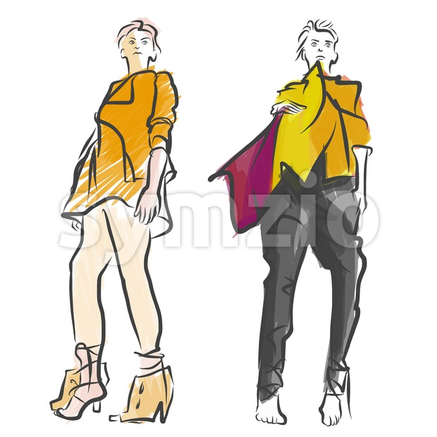 Two Fashion Models Colored Sketch Stock Vector