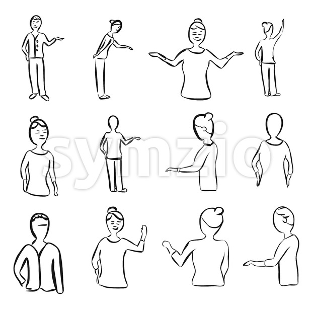Set of Teaching Woman Poses Stock Vector