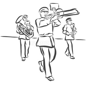 Marching Band performes Folk Music Stock Vector