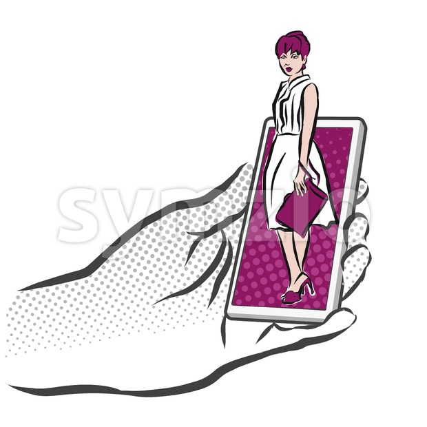 Concept Sketch Girl on Smarthone for Shopping App Stock Vector