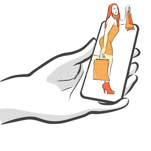Female with Bags on Smartphone, Concept Stock Vector
