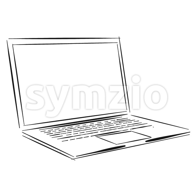 Laptop Outline Sketch Stock Vector