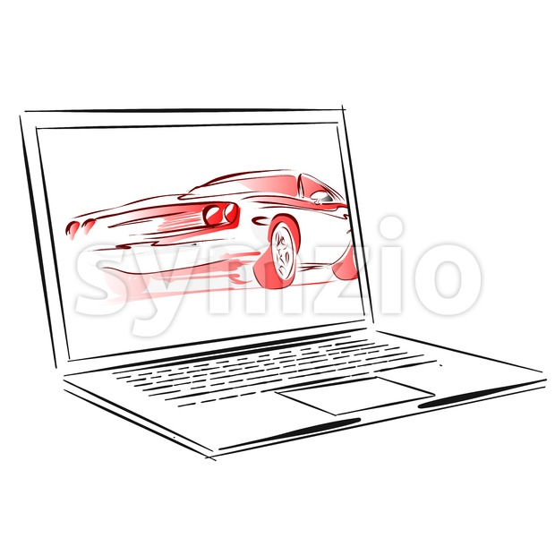 Car Rental App for Laptop Concept Sketch Stock Vector