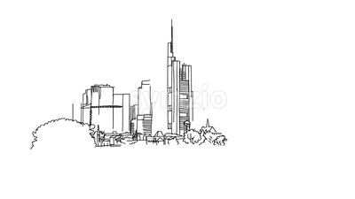 Frankfurt City Outline Animation Stock Video