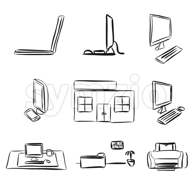 Sketches of Laptops and Desktop PC Stock Vector