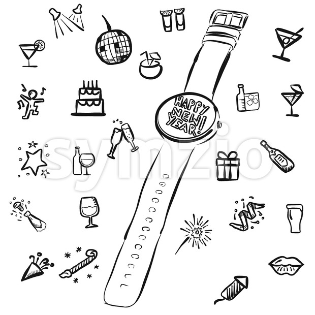 New Years Eve Doodles with Watch, Vector Outline Sketches