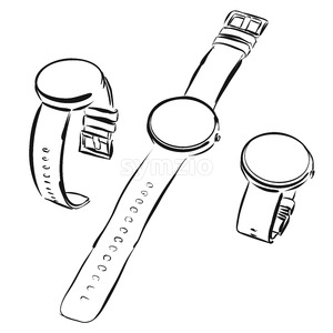 Round digital Watch in three variations, Vector Sketch Stock Vector