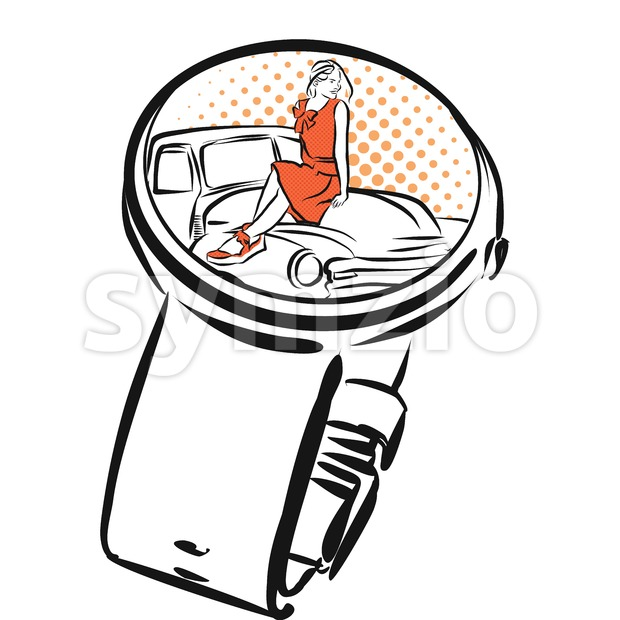Digital Watch with dating App, Concept Sketch Stock Vector