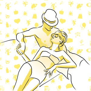 Wealthy young couple sunbathing with some doodles in Background Stock Vector