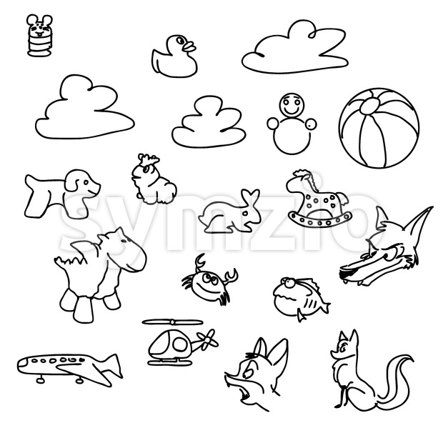 Baby game Doodles Sketched Vector Art Stock Vector